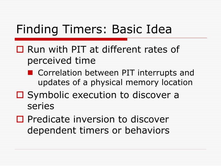 Finding Timers: Basic Idea
