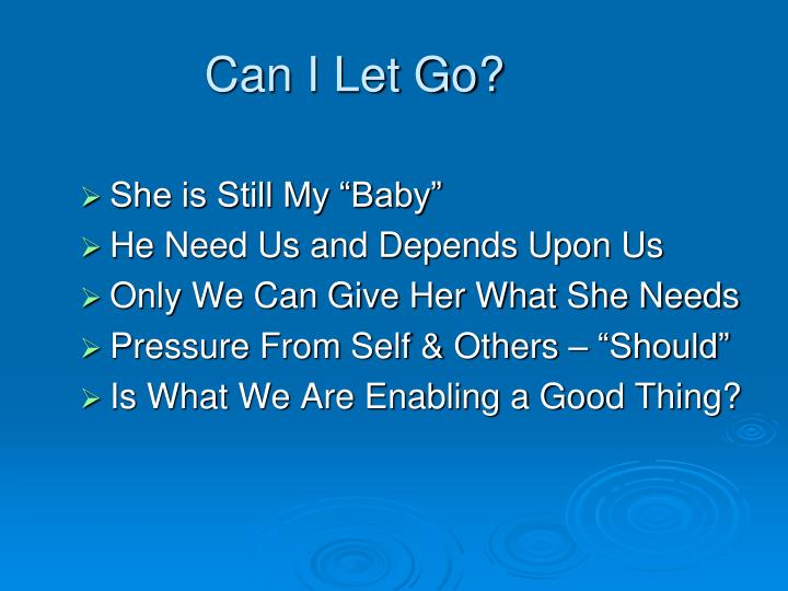 Can i let go