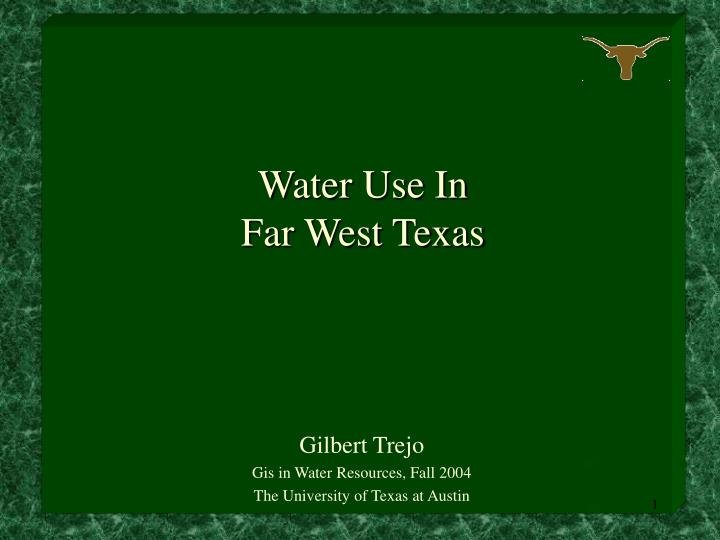 Water use in far west texas