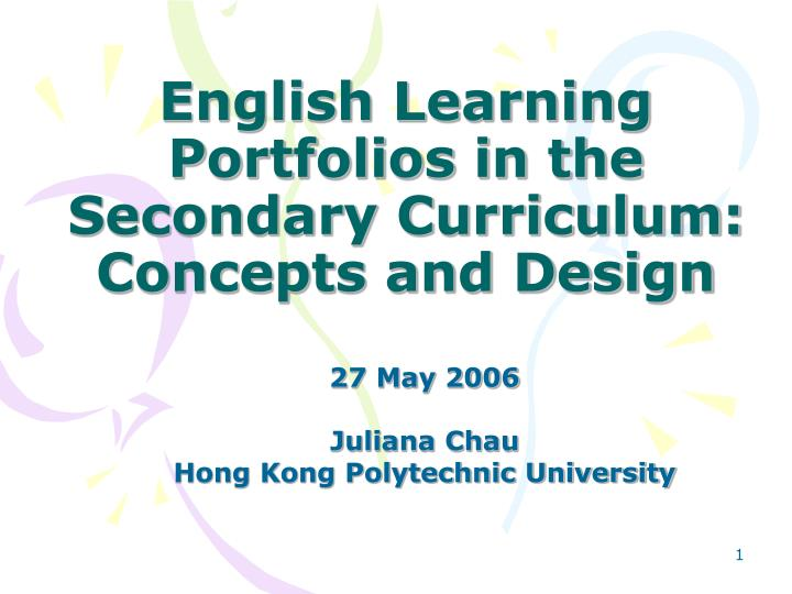 English learning portfolios in the secondary curriculum concepts and design
