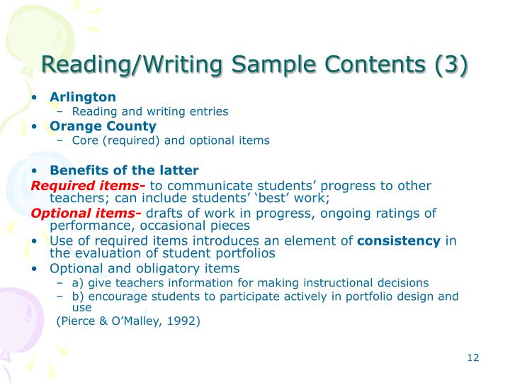 Reading/Writing Sample Contents (3)