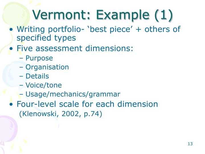 Vermont: Example (1)
