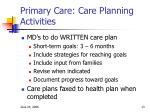 primary care care planning activities