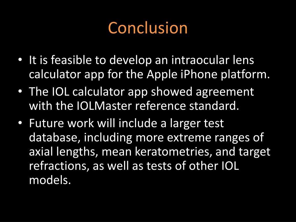 PPT - Development of an Apple iPhone IOL Calculator