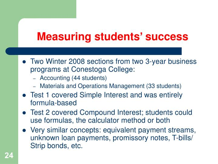 Measuring students' success
