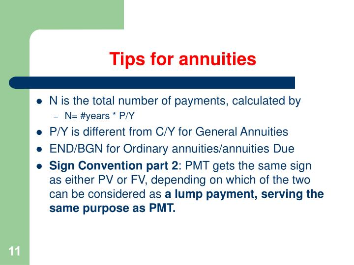 Tips for annuities