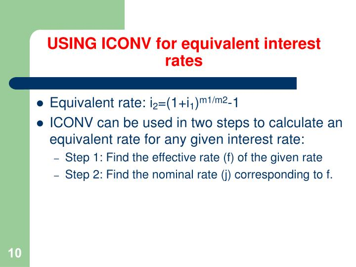 USING ICONV for equivalent interest rates