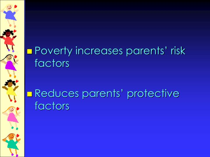 Poverty increases parents' risk factors