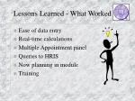 lessons learned what worked