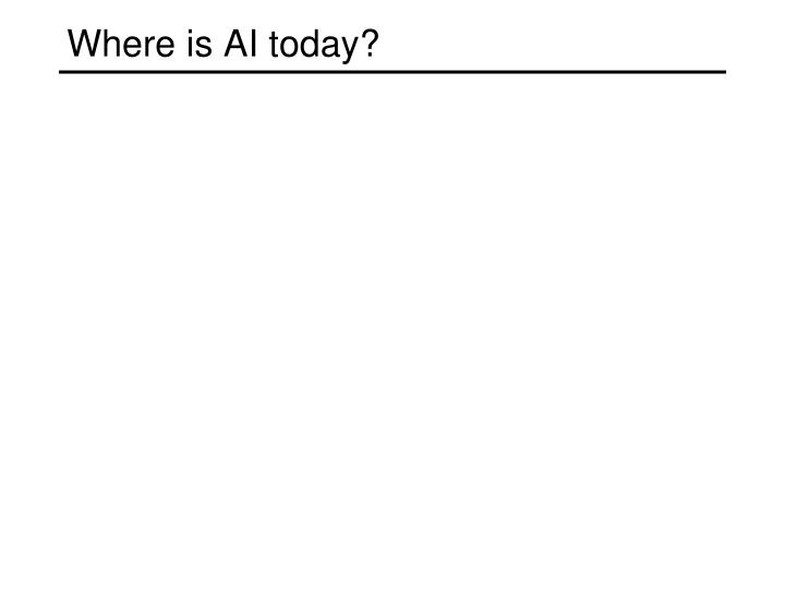 Where is AI today?