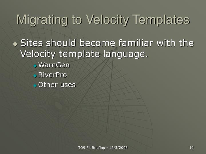 Migrating to Velocity Templates