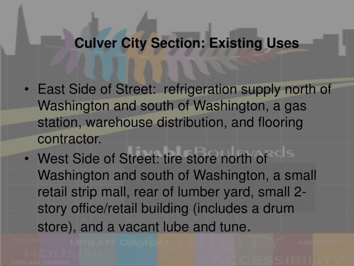 Culver City Section: Existing Uses