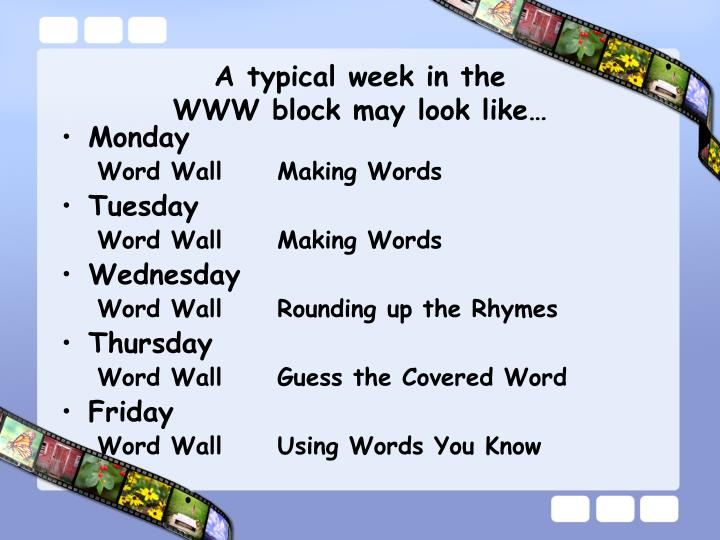 A typical week in the