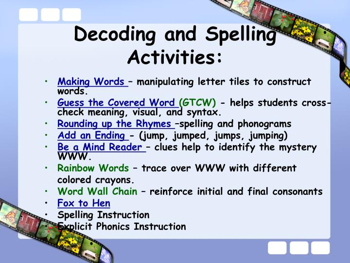 Decoding and Spelling Activities: