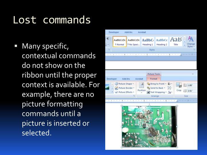 Lost commands