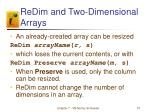 redim and two dimensional arrays