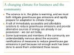 a changing climate for business and the community