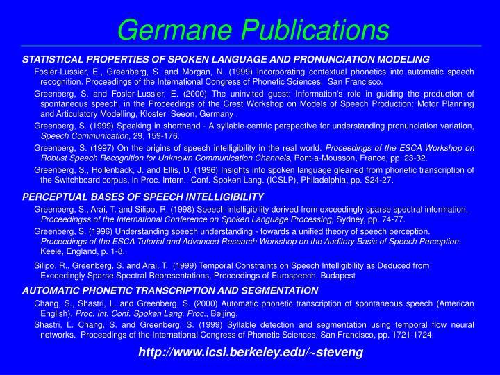 Germane Publications