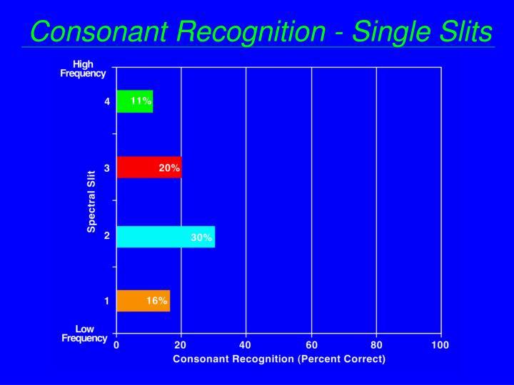 Consonant Recognition - Single Slits