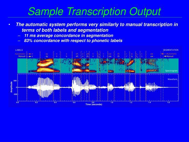 Sample Transcription Output
