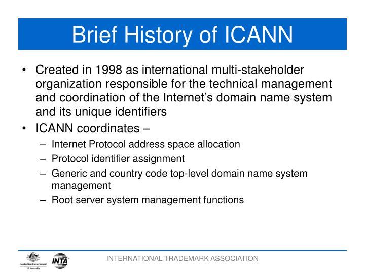 Brief history of icann