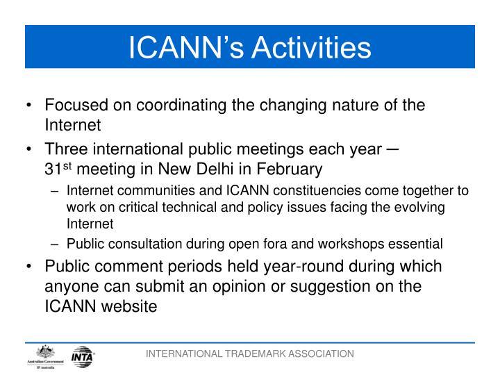ICANN's Activities