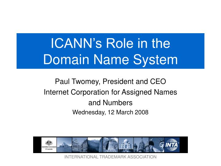 Icann s role in the domain name system