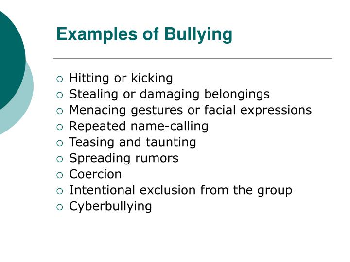 Examples of Bullying
