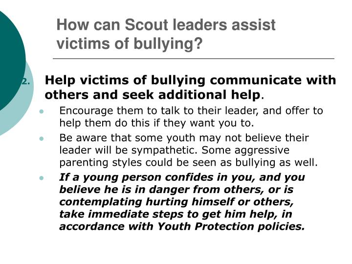 How can Scout leaders assist victims of bullying?