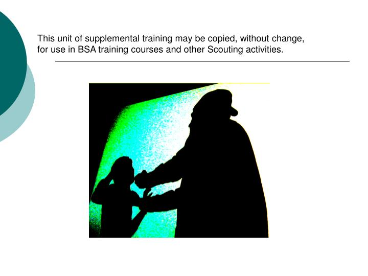 This unit of supplemental training may be copied, without change,