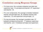 correlations among response groups