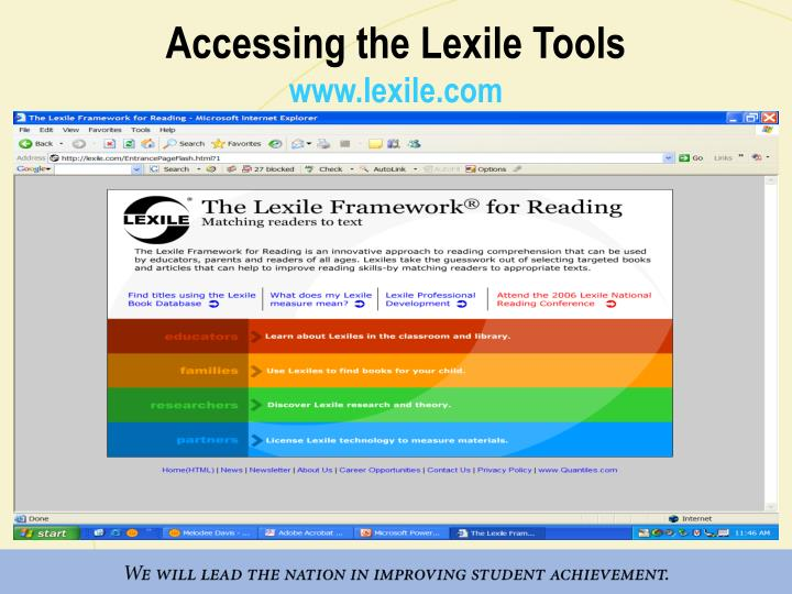Accessing the Lexile Tools