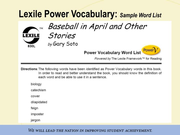 Lexile Power Vocabulary: