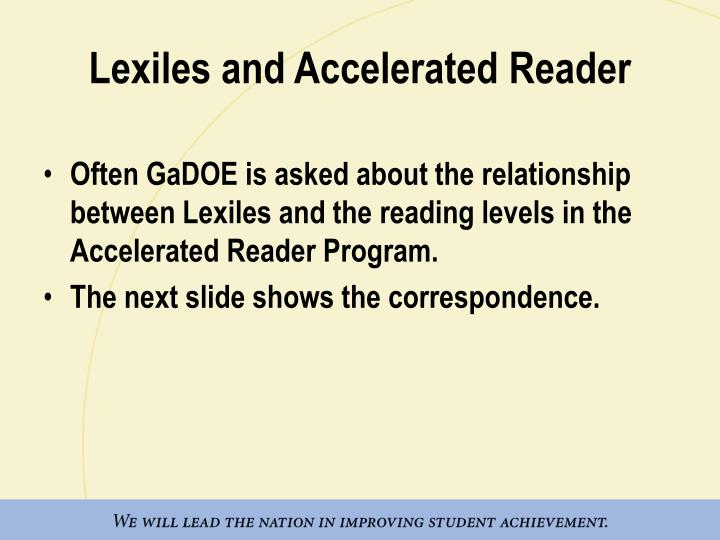 Lexiles and Accelerated Reader