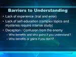 barriers to understanding