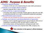 aims purpose benefits