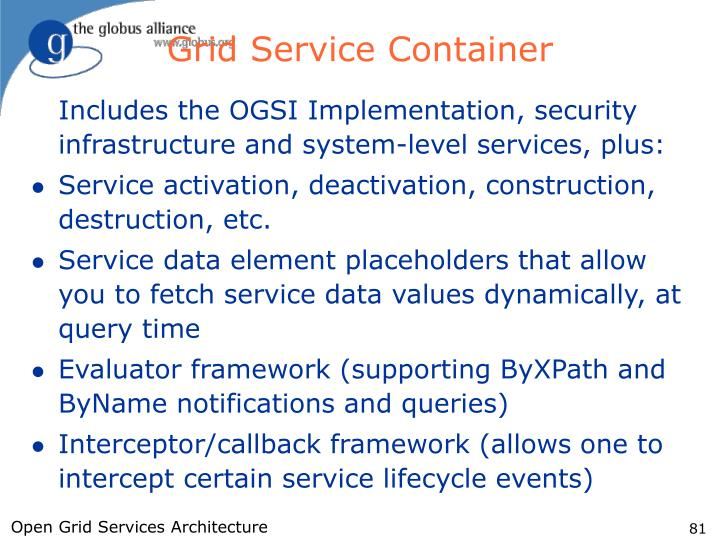 Grid Service Container
