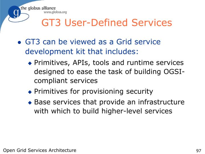 GT3 User-Defined Services