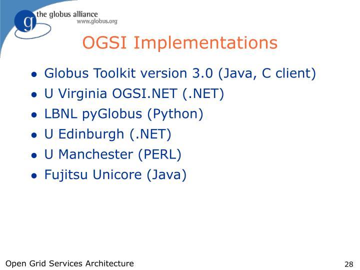 OGSI Implementations