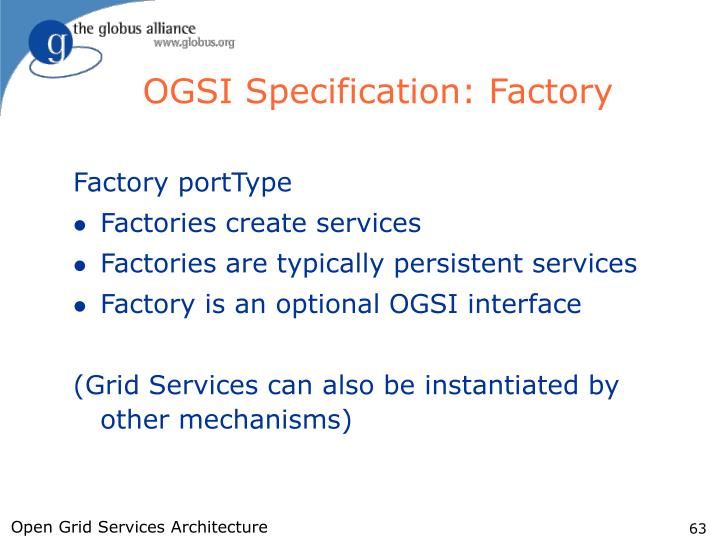 OGSI Specification: Factory