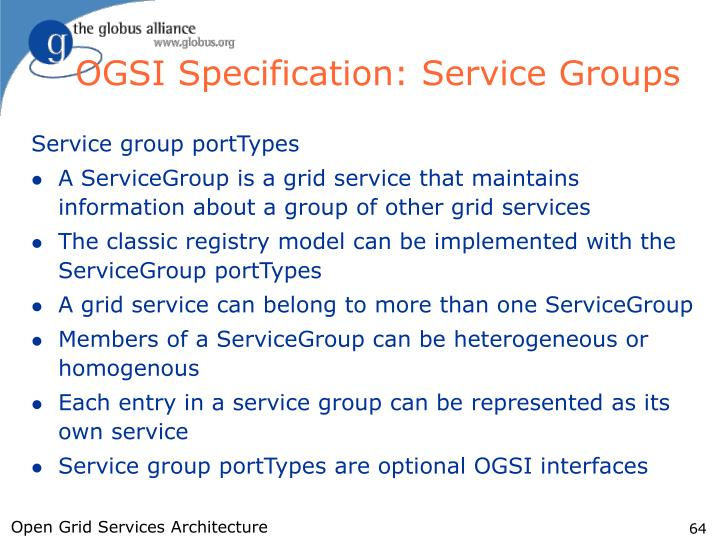 OGSI Specification: Service Groups