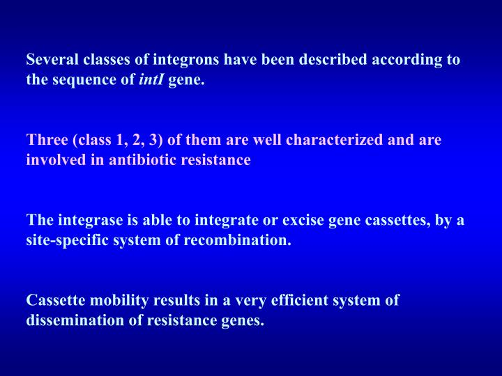 Several classes of integrons have been described according to the sequence of