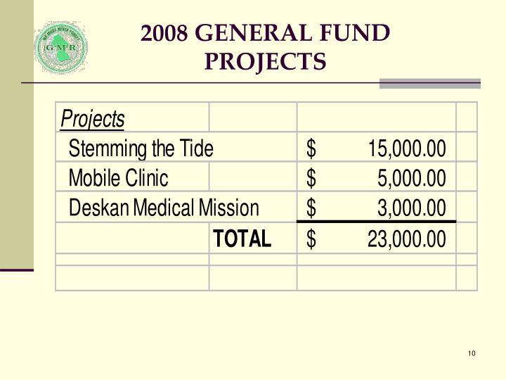 2008 GENERAL FUND