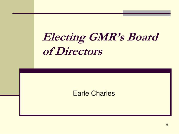 Electing GMR's Board of Directors
