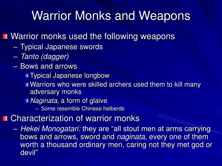 warrior monks and weapons n.