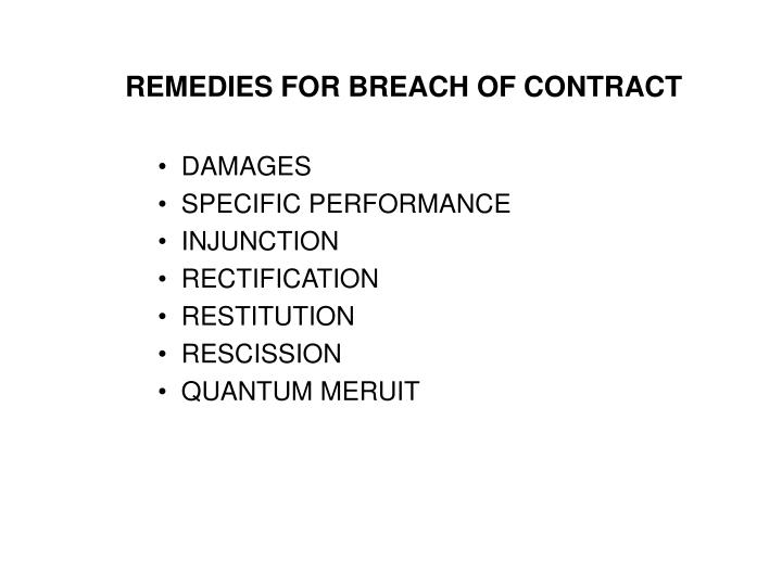 Ppt  Remedies For Breach Of Contract Damages Specific Performance