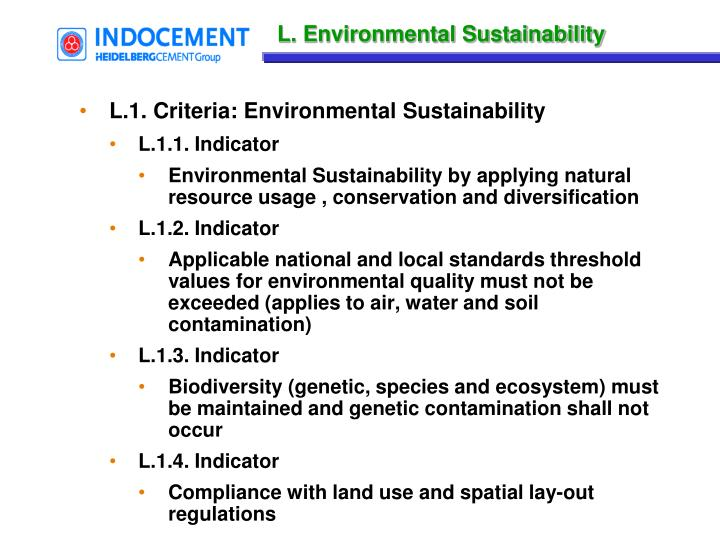 L. Environmental Sustainability