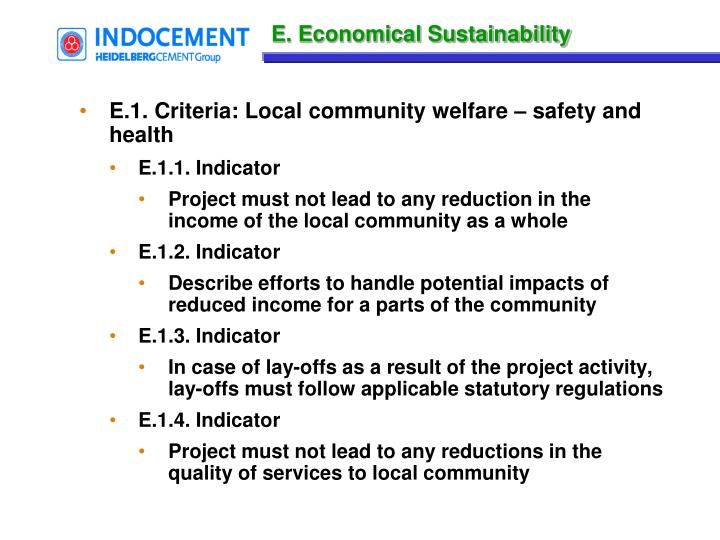 E. Economical Sustainability