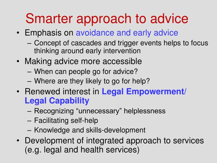 Smarter approach to advice