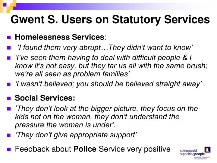 Gwent S. Users on Statutory Services